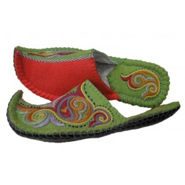 half-green-red-slippers